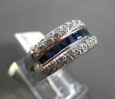 ESTATE WIDE 1.70CT DIAMOND & AAA SAPPHIRE 18KT WHITE GOLD 3D ANNIVERSARY RING