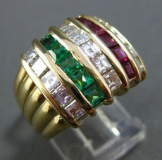 ESTATE 3.55CT DIAMOND & AAA RUBY & EMERALD 18K YELLOW GOLD MULTI ROW RING #22492