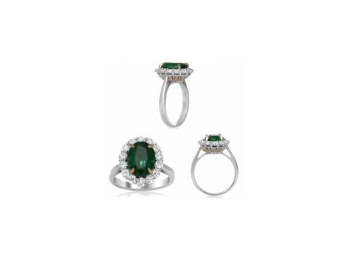 GIA CERTIFIED 4.77CT DIAMOND & AAA EMERALD 18KT 2 TONE GOLD OVAL ENGAGEMENT RING