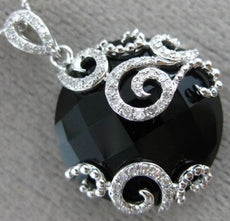 ESTATE LARGE 11.90CT DIAMOND & AAA ONYX 14KT WHITE GOLD 3D OPEN FILIGREE PENDANT