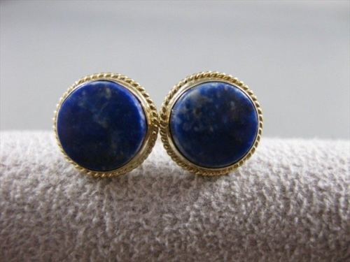 LARGE ESTATE BLUE LAPIS LAZULI 14K YELLOW GOLD EARRINGS 11MM ROUND STUDS #21230