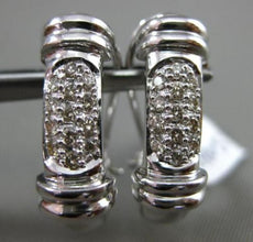 ESTATE WIDE .30CT DIAMOND 14K WHITE GOLD 3D ELONGATED MULTI ROW CLIP ON EARRINGS