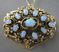 ANTIQUE LARGE 5.0CT AAA OPAL & PEARLS FILIGREE 14KT Y GOLD BROOCH & PENDANT 2755
