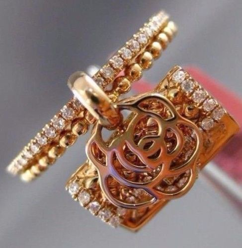 ESTATE .27CT DIAMOND 18KT ROSE GOLD HANDCRAFTED FLOWER HANDBAG FLOATING FUN RING