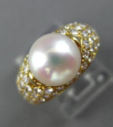 ESTATE BULGARI WIDE 1.40CT DIAMOND & AAA SOUTH SEA PEARL 18K WHITE GOLD RING E/F
