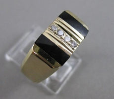 ESTATE .08CTW DIAMOND BLACK ONYX 14KT YELLOW GOLD STRIPE MENS RING F/G VS #20702
