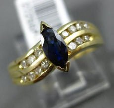 ESTATE .85CT DIAMOND & SAPPHIRE 14KT YELLOW GOLD DOUBLE ROW WAVE ENGAGEMENT RING