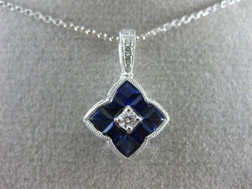 ESTATE 1.16CT DIAMOND & AAA SAPPHIRE 18KT WHITE GOLD SQUARE STAR FLOWER PENDANT