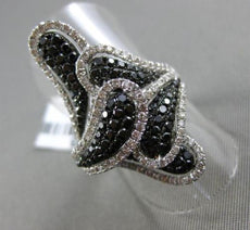 ESTATE MASSIVE 3.13CT WHITE & BLACK DIAMOND 14K WHITE GOLD MULTI LEAF FANCY RING