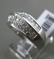 ESTATE WIDE .75CT ROUND & PRINCESS CUT DIAMOND 14K WHITE GOLD 3D MENS PINKY RING