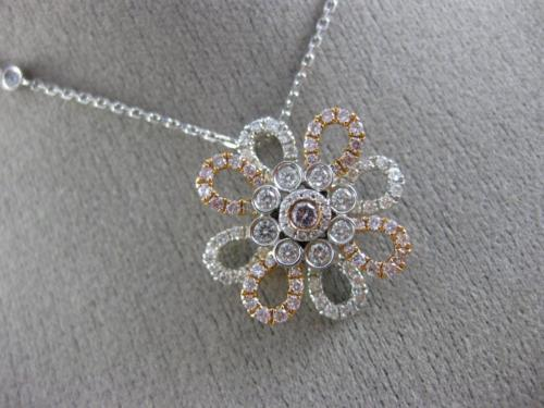 ESTATE 1.05CT WHITE & PINK DIAMOND 18K 2 TONE GOLD 3D FLOWER BY THE YARD PENDANT