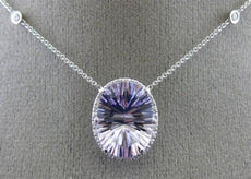 ESTATE LARGE 11.92CT DIAMOND & AAA AMETHYST 14K WHITE GOLD 3D HALO OVAL NECKLACE