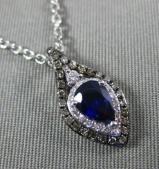 .66CT WHITE CHOCOLATE FANCY DIAMOND & SAPPHIRE 14KT WHITE GOLD TEAR DROP PENDANT