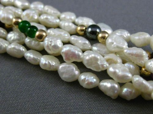ESTATE LONG 14KT YELLOW GOLD & SILVER PEARL MULTI GEM BY THE YARD NECKLACE 25366