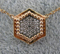 ESTATE .10CT DIAMOND 14KT ROSE GOLD 3D HEXAGON PAVE CLASSIC LUCKY LOVE NECKLACE
