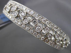 ESTATE WIDE 3CT DIAMOND 14KT WHITE GOLD FILIGREE ETOILE INFINITY BANGLE BRACELET