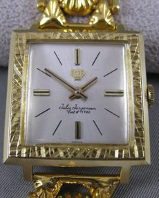 "ANTIQUE WIDE 21K & 14K YELLOW GOLD JULES JERGENSON SWISS WATCH 18MM 7.75"" #20176"