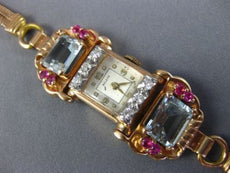 ANTIQUE LARGE BELECO 5.24CT DIAMOND & AAA AQUAMARINE & RUBY 14K ROSE GOLD WATCH