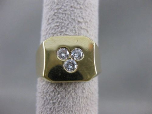 ANTIQUE .35CTW DIAMOND 14K YELLOW GOLD SQUARE MENS RING 11MM F/G VVS 8.50 #10115