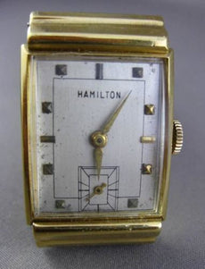 ANTIQUE LARGE 18KT YELLOW GOLD RECTANGULAR HAMILTON & LIZARD GRAIN BAND #2079