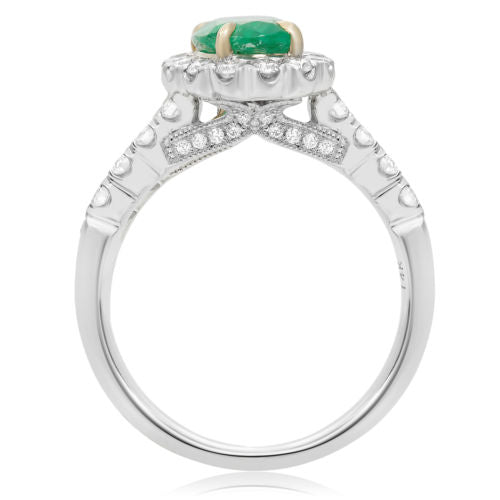 ESTATE 1.76CT DIAMOND & AAA EMERALD 14K 2 TONE GOLD OVAL PYRAMID ENGAGEMENT RING