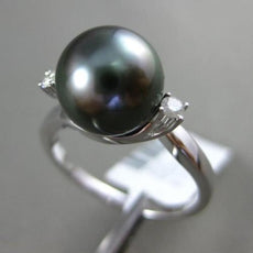 ESTATE LARGE .07CT DIAMOND 18K WHITE GOLD AAA TAHITIAN PEARL 3D CRISS CROSS RING