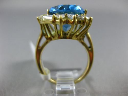 LARGE 13.35CT DIAMOND & BLUE TOPAZ 18KT YELLOW GOLD HALO PRINCESS DIANA RING 663
