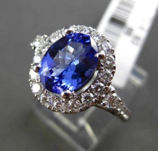 ESTATE 2.68CT DIAMOND & TANZANITE 18KT WHITE GOLD 3D PEAR HALO ENGAGEMENT RING