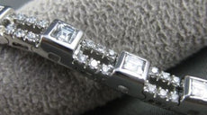 ANTIQUE 4.0CT DIAMOND RADIANT & ROUND 18KT WHITE GOLD BRACELET E/F VVS/VS #21813
