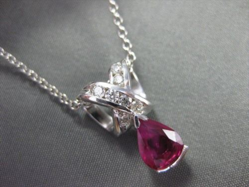 ANTIQUE 1.11CT DIAMOND & RUBY 14K WHITE GOLD PEAR SHAPE PENDANT STUNNING! #18421