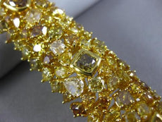 GIA LARGE 36.27CT MULTI COLOR DIAMOND 18K YELLOW GOLD 3D CLUSTER TENNIS BRACELET