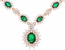 ESTATE 5.0CT DIAMOND & AAA EMERALD 14KT ROSE GOLD 3D FLOWER BY THE YARD NECKLACE