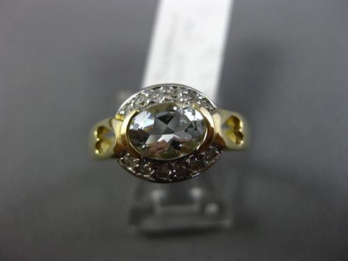 .92CT DIAMOND & AAA OVAL AQUAMARINE 14KT YELLOW GOLD SEMI BEZEL ENGAGEMENT RING