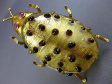 ESTATE LARGE .10CT AAA RUBY 18KT YELLOW GOLD HANDCRAFTED GLASS BEETLE BROOCH PIN