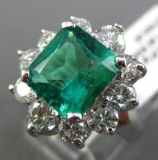 EXTRA LARGE 4.67CT DIAMOND & COLOMBIAN EMERALD 14KT WHITE GOLD ENGAGEMENT RING