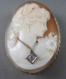 ANTIQUE LARGE .18CT DIAMOND FILIGREE LADY CAMEO 14K 2TONE BROOCH & PENDANT #1807