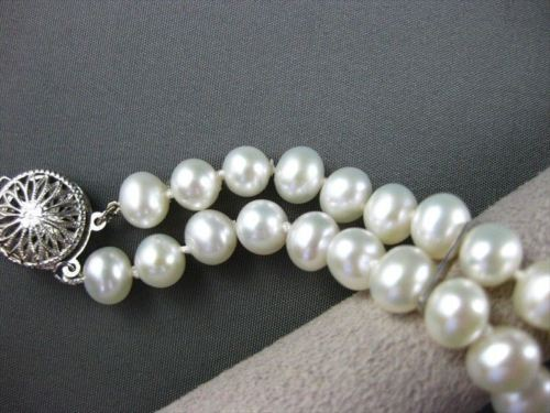 ESTATE WIDE AAA SOUTH SEA PEARLS 14KT WHITE GOLD FILIGREE BRACELET 13MM #744