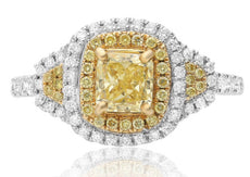 ESTATE 1.39CT WHITE & FANCY YELLOW DIAMOND 18KT 2 TONE GOLD HALO ENGAGEMENT RING
