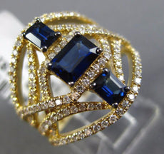ESTATE LARGE 2CT DIAMOND & AAA SAPPHIRE 14KT YELLOW GOLD SQUARE ANNIVERSARY RING