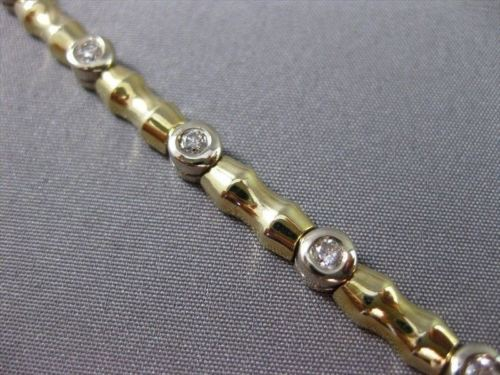 ESTATE 1.10CT DIAMOND 14KT WHITE & YELLOW GOLD ETOILE BAMBOO BRACELET #22385