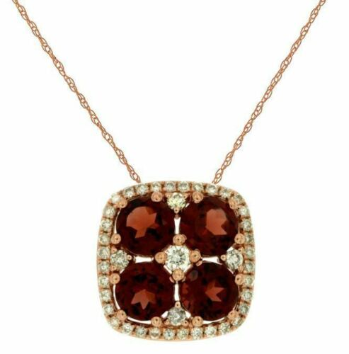 1.38CT DIAMOND & AAA GARNET 14K ROSE GOLD CLUSTER FLOWER SQUARE HALO FUN PENDANT
