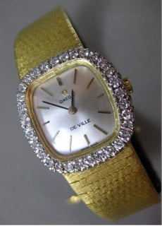 ESTATE LARGE 1.0CT DIAMOND 18KT TWO TONE GOLD OMEGA DE VILLE SWISS WATCH #25039