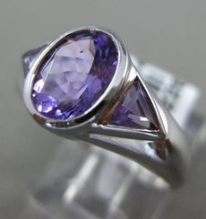 ESTATE WIDE 2.0CT AAA AMETHYST 14K WHITE GOLD 3D OVAL 3 STONE TRILLION MENS RING