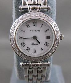 "NEW .82CTW DIAMOND 14KT WHITE GOLD GENEVE SWISS WATCH SEALED 8.0"" F/G VS #20446"