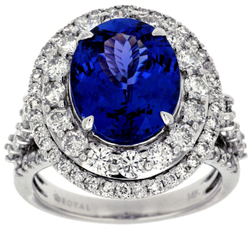 LARGE 8.0CT DIAMOND & AAA TANZANITE 14KT WHITE GOLD DOUBLE HALO ENGAGEMENT RING