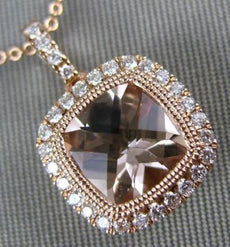 1.58CT DIAMOND & AAA MORGANITE 14KT ROSE GOLD 3D HALO FILIGREE MILGRAIN PENDANT