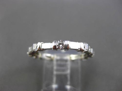ANTIQUE 1.10CT ROUND & BAGUETTE DIAMOND 14K WHITE GOLD ETERNITY RING BAND 722097
