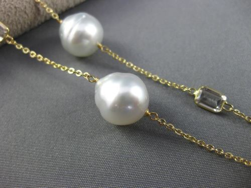 ESTATE LONG 14K YELLOW GOLD AAA WHITE TOPAZ & MULTI PEARL BY THE YARD NECKLACE