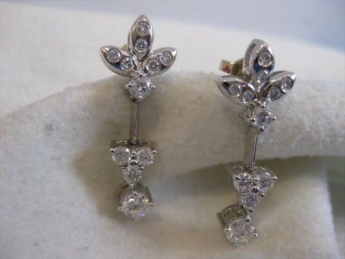 ANTIQUE 1.15CTW DIAMOND 18K WHITE GOLD HANGING POST EARRINGS F VVS/VS 27MM #9453