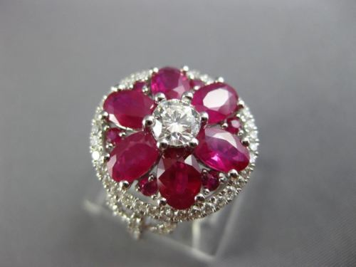 LARGE 3.40CT DIAMOND & AAA RUBY 18KT WHITE GOLD 3D SOLITAIRE FLOWER RING #26071